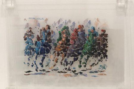 Competizione a cavallo - scomposizione visiva 40x50