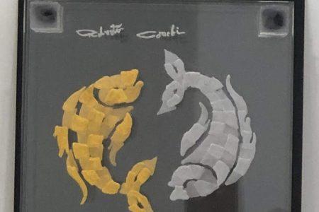 Pesci - scomposizione visiva - Segni Zodiacali oro e argento 20x20