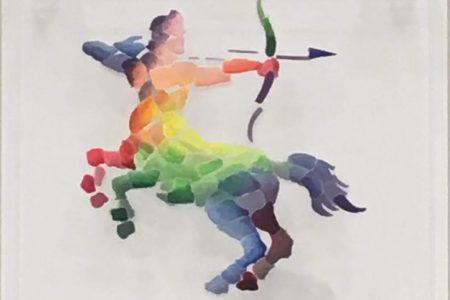 Sagittario - scomposizione visive - Segni Zodiacali colorati 20x20